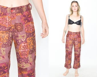 FLORAL SUEDETTE PANTS 90's Vintage High Waist. Short Crop Leg. 90's Grunge Mod Floral. Size S/Small Grunge. Contrast Pattern Pant size Small