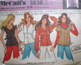 Vintage 70's Junior/Teen Sewing Pattern - Set of Tops - McCall's 3838 - Junior Size 9, Bust 32