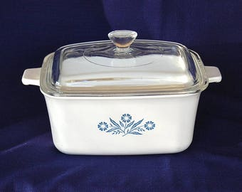 Vintage Corning Ware Cornflower Blue Rectangular Covered Baking Dish Cornflower Blue P-4-B with Pyrex Lid Circa 1966