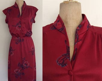 30% OFF 1970's Maroon Hawaiian Floral Print Polyester Dress Size XS Small by Maeberry Vintage