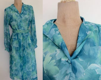 1980's Blue Floral Polyester dress w/ Belt Size Small Medium by Maeberry Vintage