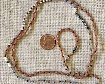 Knotted Necklace Boho Long Multi Colored Brown Tiny Bead Mix and Match