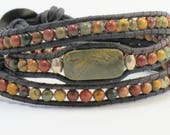 Red Creek Jasper Leather Wrap Bracelet, Gemstone Wrap Bracelet, Leather Bracelet, Beaded Leather Wrap