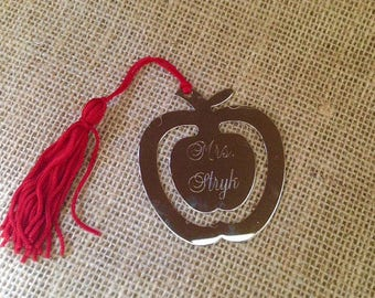 Engraved Bookmark - Personalized Apple Bookmark - Teacher Gift