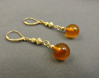 Amber And Gold Filled Drop Earrings