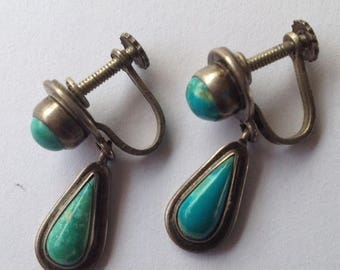 ON SALE Sale Vintage Turquoise and Sterling Drop Earrings Mexico