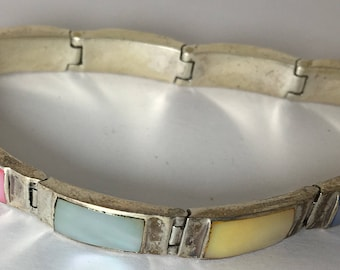 Vintage Silver Mother of Pearl Link Bracelet Pastel Yellow Blue Pink Green