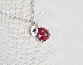 Ruby Teardrop Glass Initial Necklace, January Birthstone Personalized Initial Necklace, Monogram Initial Necklace, Mother Grandmother Gift