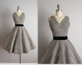 50's Dress // Vintage 1950's Black White Quilted Cotton Full Circle Garden Party Dress XS
