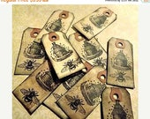 25 Stamped Cottage Chic Bee Hives Bees Hang Tags - Stamped - Favors - Gift wrapping