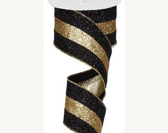 SUPPLY SALE 2.5 Inch Black Gold Black 3 in 1 Glitter Ribbon RM982486, Deco Mesh Ribbon