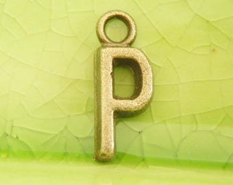 20 bronze letter P charms pendants potter primrose games harry word name character book movie initial monogram literary16mm x 6mm C0988-20