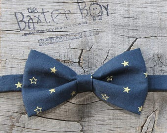 Gold stars on Navy bow tie for little boys - pre-tied, photo prop, wedding, ring bearer, accessory