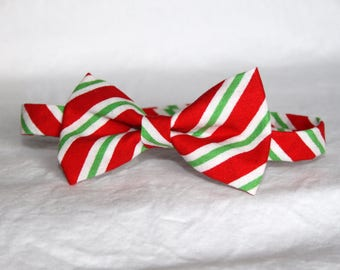 30% OFF SALE***  Ready-to-Ship --- size MEDIUM Red, White & Green Diagonal Stripe little boy bow tie - holiday, photo shoot, Christmas