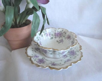 Small RARE Mayonnaise Trinket Dish 2 Pieces GDA France CH Field Haviland Limoges Vintage