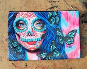 Cosmetic Bag Case | Ethereal Dream By Carissa Rose | Pretty Lowbrow Pencil Pouch Makeup Bag Colorful Butterfly Sugar Skull Girl Psychedelic