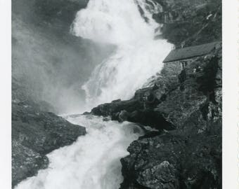 Vintage Photo, Magnificent Waterfall and Stone Cottage, Stalheim Norway, Snapshot, Old Photo, Black & White Photo, Travel Photo, Landscape