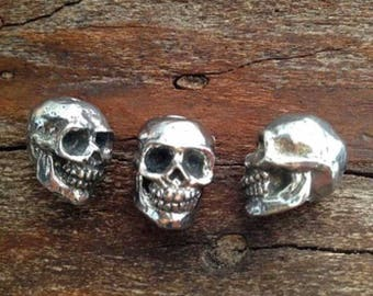 Green Girl Studios-10x20mm Pewter Beads-Smiling Skull-Antique Pewter-Quantity 1