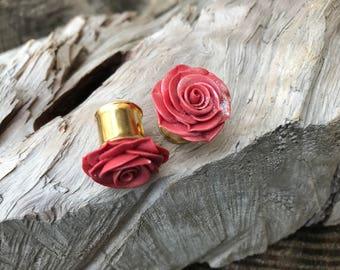 "Rosebud Plugs - Peachy Pink - 12mm-1/2"""