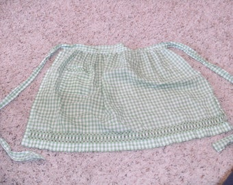Vintage Green Gingham Checked Apron