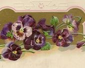Purple and Pink Pansies Elegant Embossed Vintage Postcard 1911 With Flag Cancel Publisher A W Santway