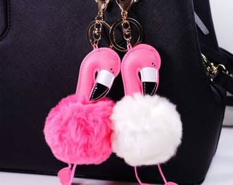 Pink Flamingo Faux fur pom pom Fashion Bag Purse Key Chain Ring Keychain