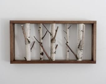 white birch forest wall art/coat rack, birch branch, birch log, wall hanging, wooden hook, modern rustic wall decor, framed birch art