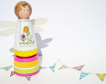 Tooth Fairy Box, Party Favor, Hand Painted Peg Fairy, Fairy Decor- Ready to Ship