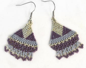 Boho Purple Earrings - Purple and Silver - Boho Earrings - Surgical Steel Hooks