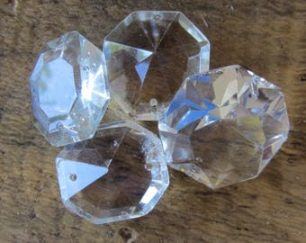 4 Vintage Diamond  Chandelier Crystal Glass Prism