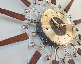 "31"" Vintage Starburst Wall Clock Elgin - Sunburst Atomic Eames Era Mid Century Modern 1950's 60's"