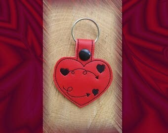 Red Floating Hearts Embroidered Key Fob, Key Chain, Luggage Tag, Bag Clip, Vinyl, Key Ring, Purse Charm