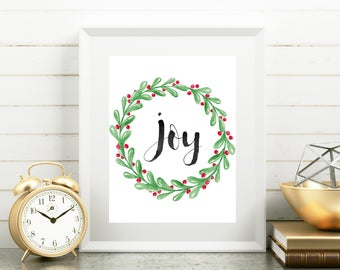 Christmas Print, Joy Print, Calligraphy Wall Art, Watercolor Wreath Christmas Print, Home Decor, Winter Art, Christmas Decor