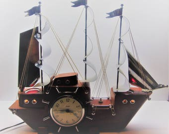 Vintage Ship Mantle Clock, Sailing Ship Clock by United Clock Co.