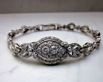 Midcentury Vintage Diamond and 14k White Gold Bracelet - 1.65 Carats Total Diamond Weight