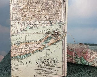 Travel Sale New York Map Travel Journal with Antique 1911 NYC Southern Part Detailed Map Cover