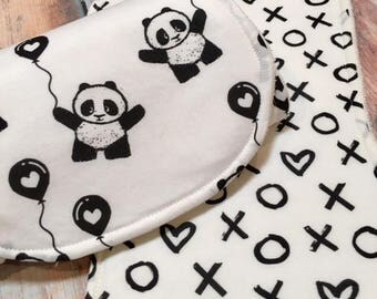 Gender Neutral burp cloth baby gift set  baby gift Organic bamboo burp cloth set Panda burp cloth set baby shower gift new mom gift