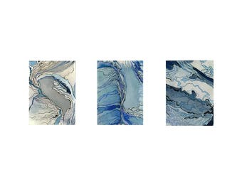 Blue and white abstract watercolor print, small wall art, Hibernal Triptych