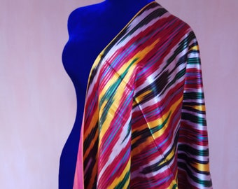 Uzbek vintage pure silk ikat fabric Han atlas 335cm. VI001