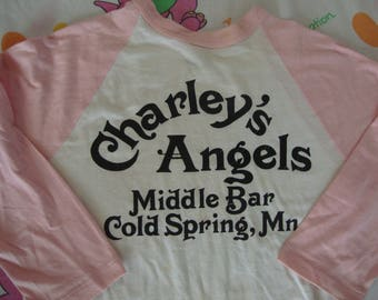 Vintage Charley's Angels Middle Bar Cold Springs Minnesota Jersey pink Raglan Sleeve Beer Party punk rock tourist T shirt Adult size S