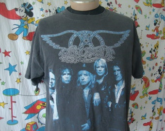 Vintage 90's Aerosmith 9 Lives THRASHED Concert Heavy Metal 1997 Tour Black T Shirt Sz XL