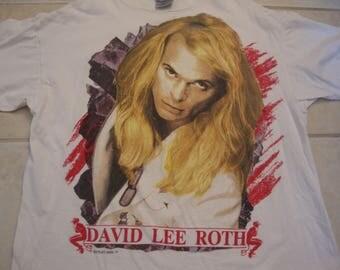 Vintage David Lee Roth 1991 Heavy Metal Concert Tour Van Halen White A Little Ain't Enough 90's T Shirt XL