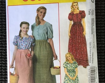 McCall's 6140 Misses Colonial Dress Apron Costume Sewing Pattern Size S-XL UNCUT
