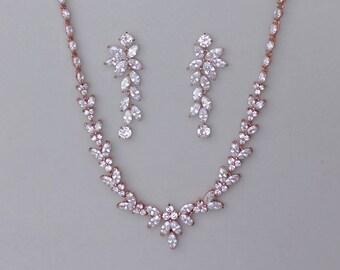 Rose Gold Bridal Set, Rose Gold Jewelry Set, Rose Gold Necklace & Earring Set, Rose Gold Wedding Jewelry Set, DENISE/MAXIME RG