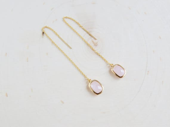 Gemstone Earrings | Threaders Gold | Simple Gold Threaders | Long Earrings | Threader Earrings | Gift for Her | Christmas Gift