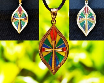Plique a Jour 14k Enamel CROSS Stained Glass Window effect PENDANT Charm