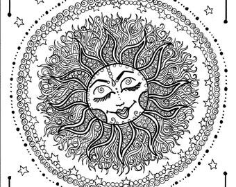 Sun Mandala Digital Coloring page instant download/Zen/relax/adult coloring/color pages/celestial/moon/stars