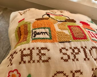 Variety Is the Spice of Life / Vintage Embroidered Pillow / Hand-made embroidered decorative pillow