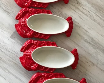 Set of 4 Vintage Hall Lobster Dishes in Red / Vintage Lobster Serving Dishes / Retro Lobster Au gratin Dishes / 1960s