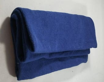 Blue Hand Dyed Hemp Organic Cotton Jersey Knit Fabric Remnant Made in the USA